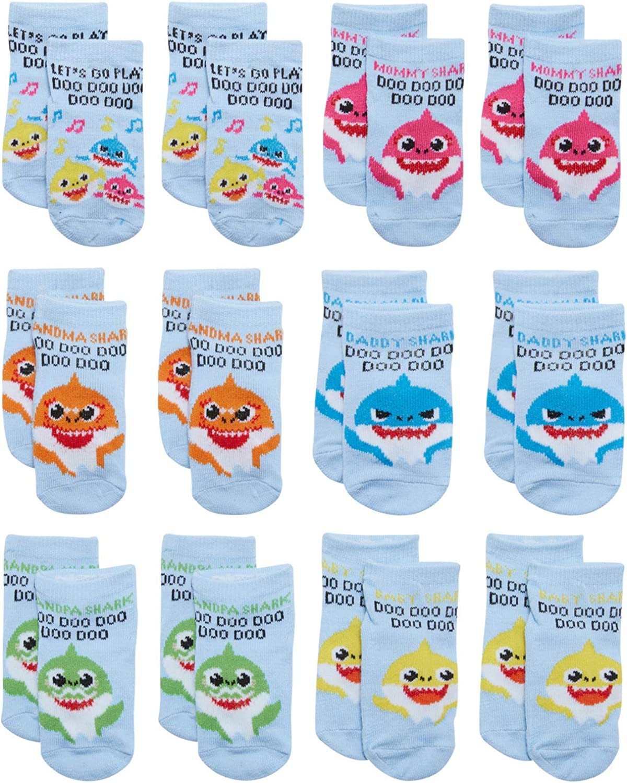Nickelodeon Infant Boys' & Girls' Baby Shark Low Cut Socks (12 Pack)
