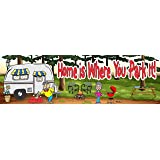 Home is Where You Park It Funny RV Camp Sign with Forest Scene, BBQ Grill & Camper Couple – Fun Sign Factory Original Welcome Sign