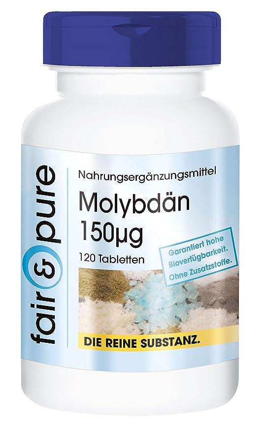 Molibdeno 150 mcg - Molibdato sódico - 120 comprimidos vegetarianas - Sustancia pura y sin aditivos