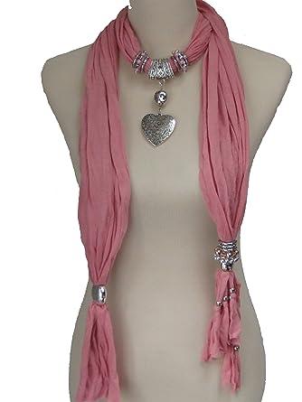 Glitterbugs heart pendant necklace charm scarf with beads and glitterbugs heart pendant necklace charm scarf with beads and tassly end rose pink aloadofball Images