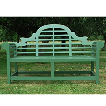Sherwood Green Painted Lutyens Teak Wooden Traditional Garden Bench    Delivered Fully Assembled
