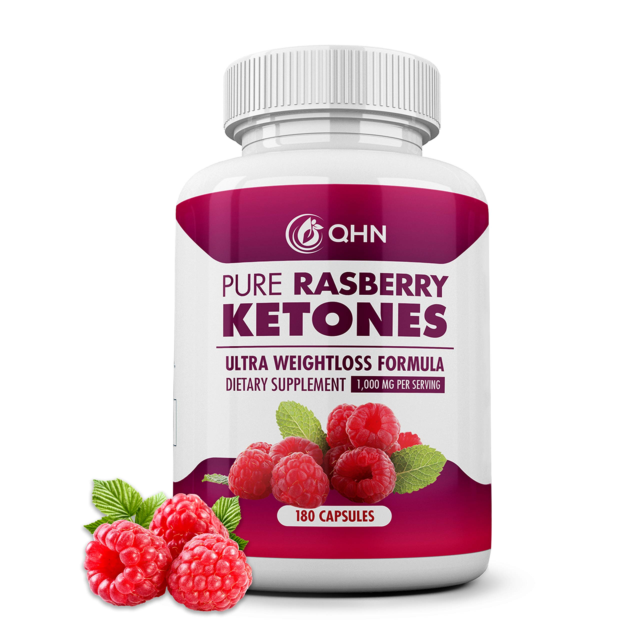 Pure 100% Raspberry Ketones Max 1000mg Per Serving - 3 Month Supply - Powerful Weight Loss Supplement - Provides Energy Boost for Weight Loss - 180 Capsules by Fresh Healthcare by Quantum Health Nutrition