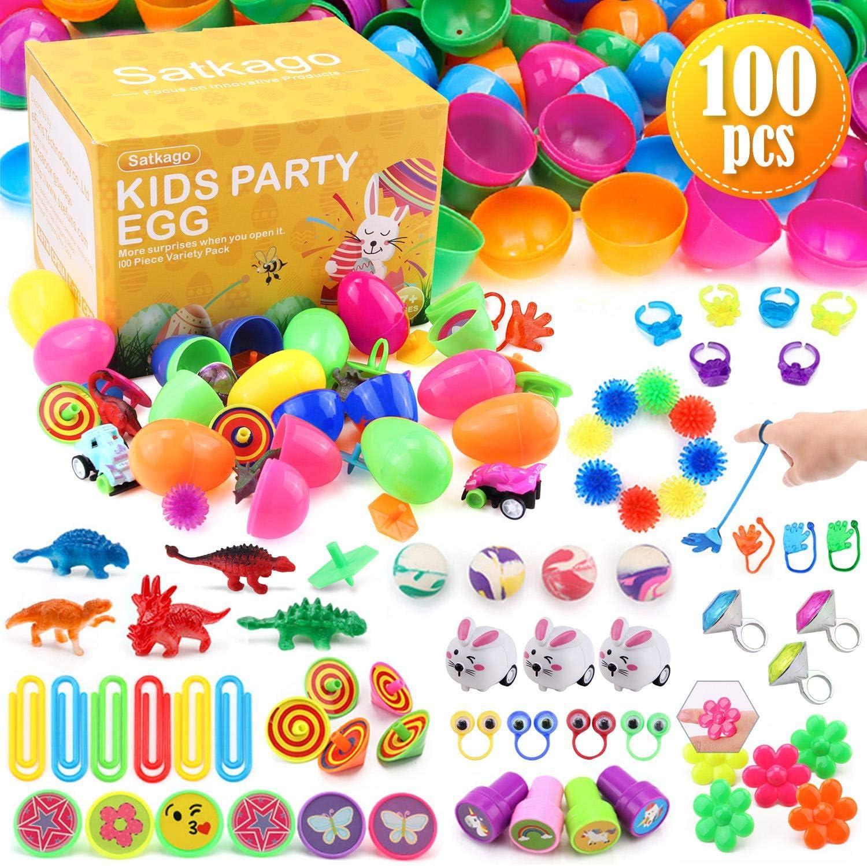 Satkago 100 uds Huevos de Pascua de Juguete, Huevos de Plástico de Colores Brillantes con 16 Tipos de Juguetes Populares para Niños Pequeños como Partidarios de la Fiesta