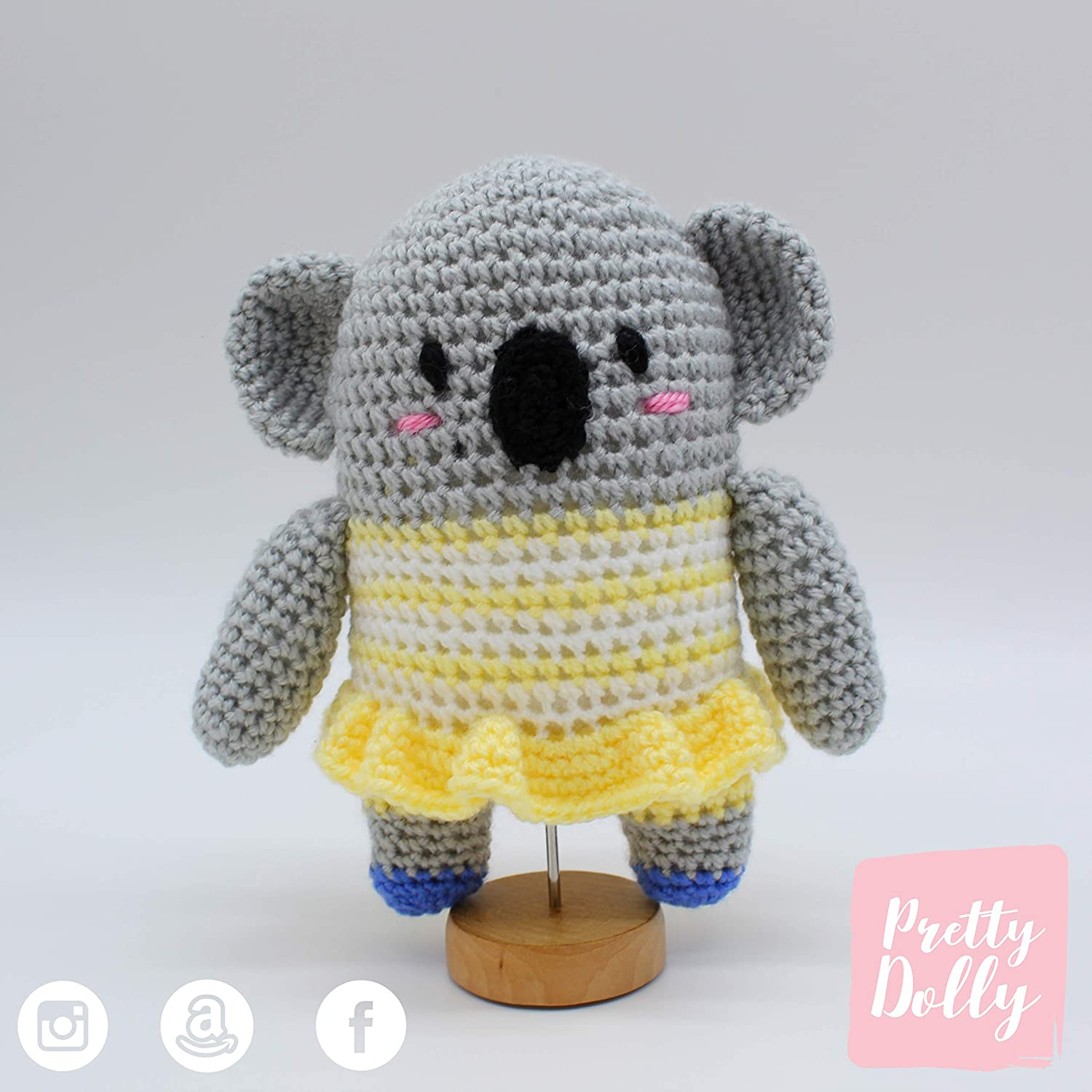 MUÑECO AMIGURUMI DE GANCHILLO PARA BEBÉ- MUÑECO DE CROCHET PARA NIÑO O NIÑA - REGALO ANIMAL KOALA NIÑA- PRETTY DOLLY: Amazon.es: Handmade