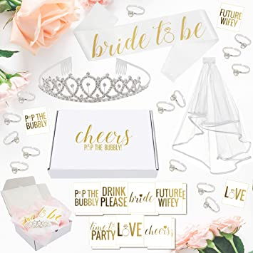 bachelorette party decorations kit bridal shower supplies with cheers gift box tiara