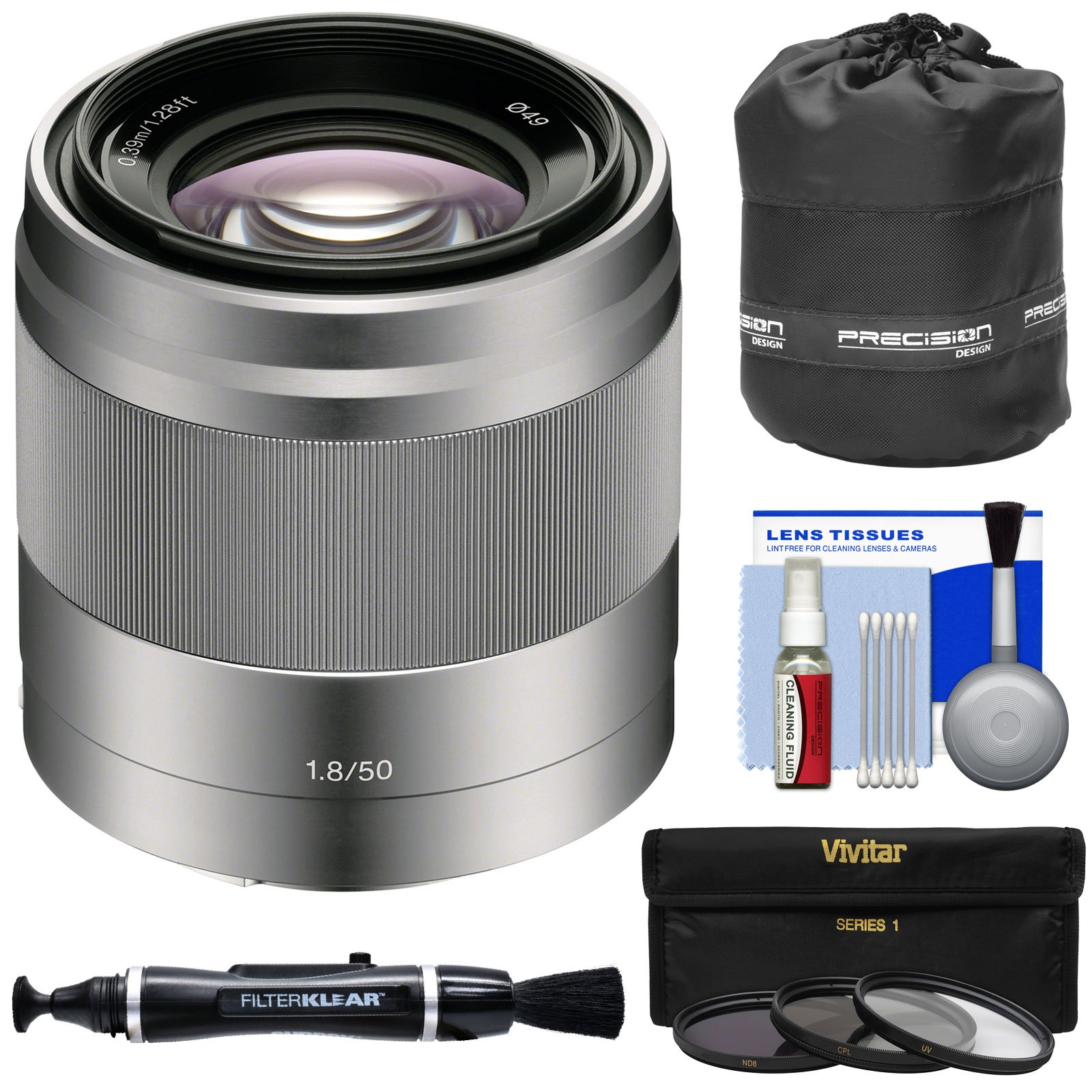 Sony Alpha E-Mount 50mm f/1.8 OSS Lens (Silver) with 3 UV/CPL/ND8 Filters + Pouch + Kit by Sony