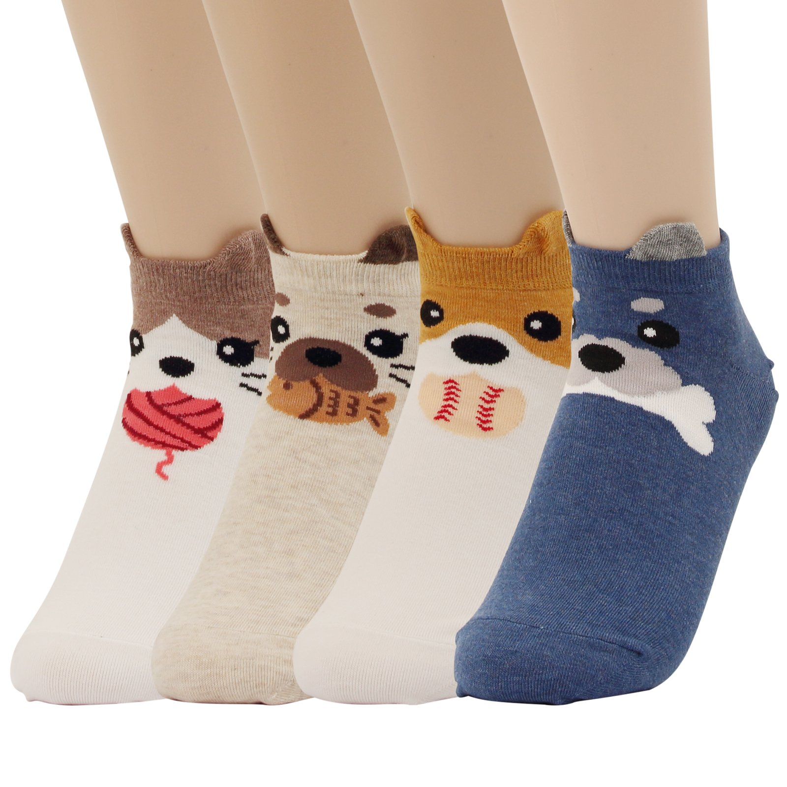 Cat Animal Low Cut Socks For Women Girl Cool Puppy Fun Crazy Novelty Design Sneakers Crew Ankle (4pairs - Ang)