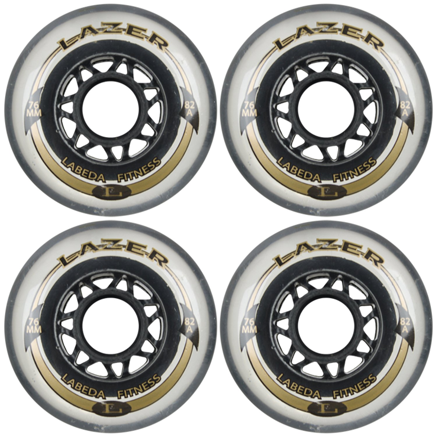 Labeda Inline Outdoor Wheels Lazer 76mm 82A Clear x4 by Labeda