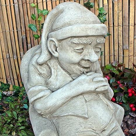 Pietra Statuetta Gnomo Da Giardino Inglese Snoozer Folletto Kobold