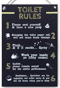 carispibet Toilet Rules - Home Decorative Signs Funny Quirky plaques Bathroom Decor Home Accessory 8x12''