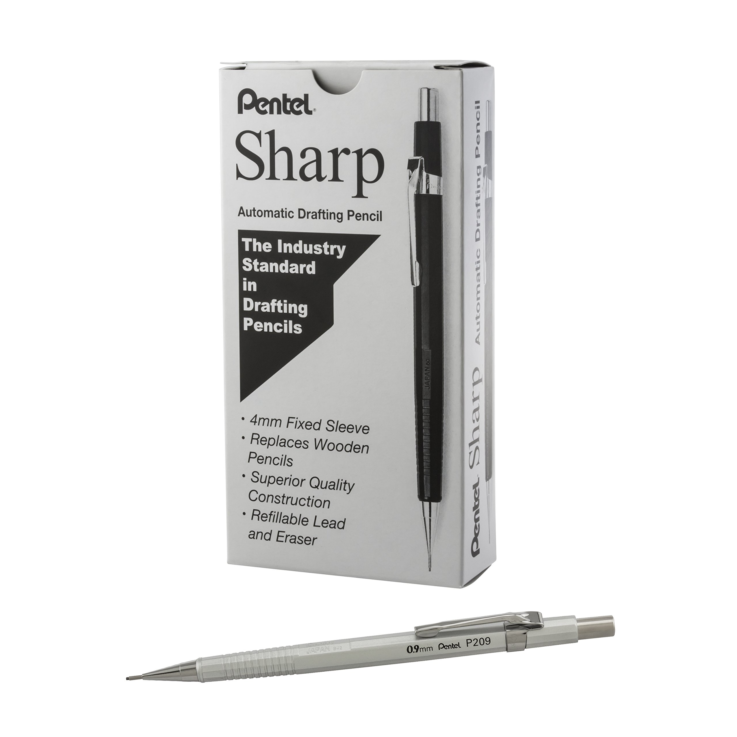 Pentel Sharp Mechanical Pencil, (0.9mm), Metallic Silver Barrel, Box of 12 (P209Z) by Pentel