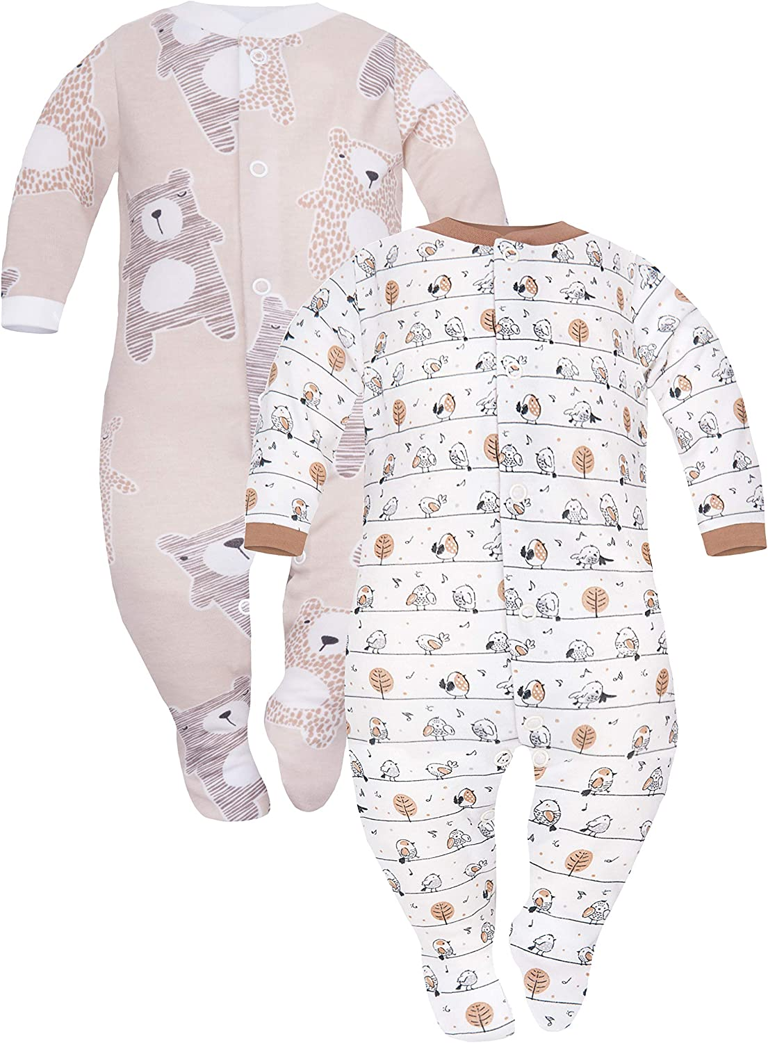 SIBINULO Baby Boys Baby Girls Sleepsuit with ABS Mix Sizes 9-24 Months Pack of 2