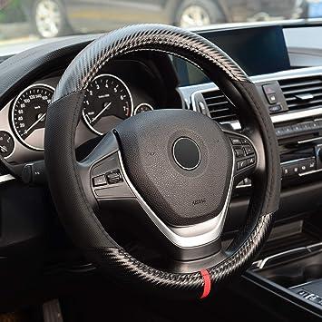 Black Odorless Microfiber Leather Carbon Fiber KAFEEK Steering Wheel Cover,Universal 15 inch Anti-Slip