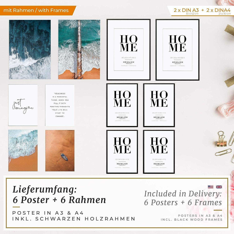 Set de Poster Premium pour la Maison 2 x Salon 30x42cm et 4 x | avec Cadres en Alu Argent /»Coco en Noir et Blanc /« Heimlich/® Tableau D/écoration Murale Chambre Bureau Cuisine 21x30cm