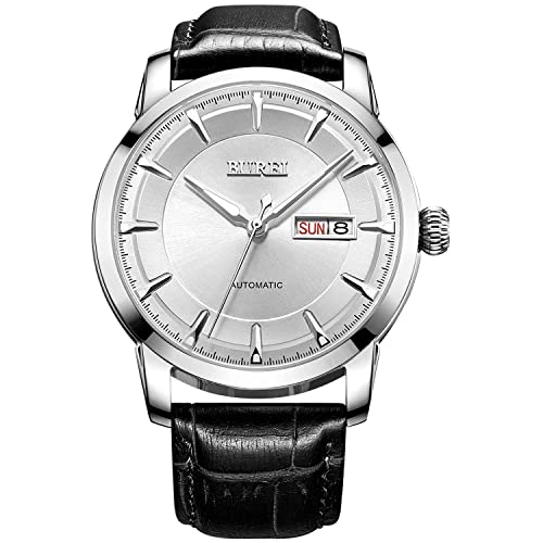 BUREI Man Classic Luminous Day and Date Automatic Watch with Calfskin Band