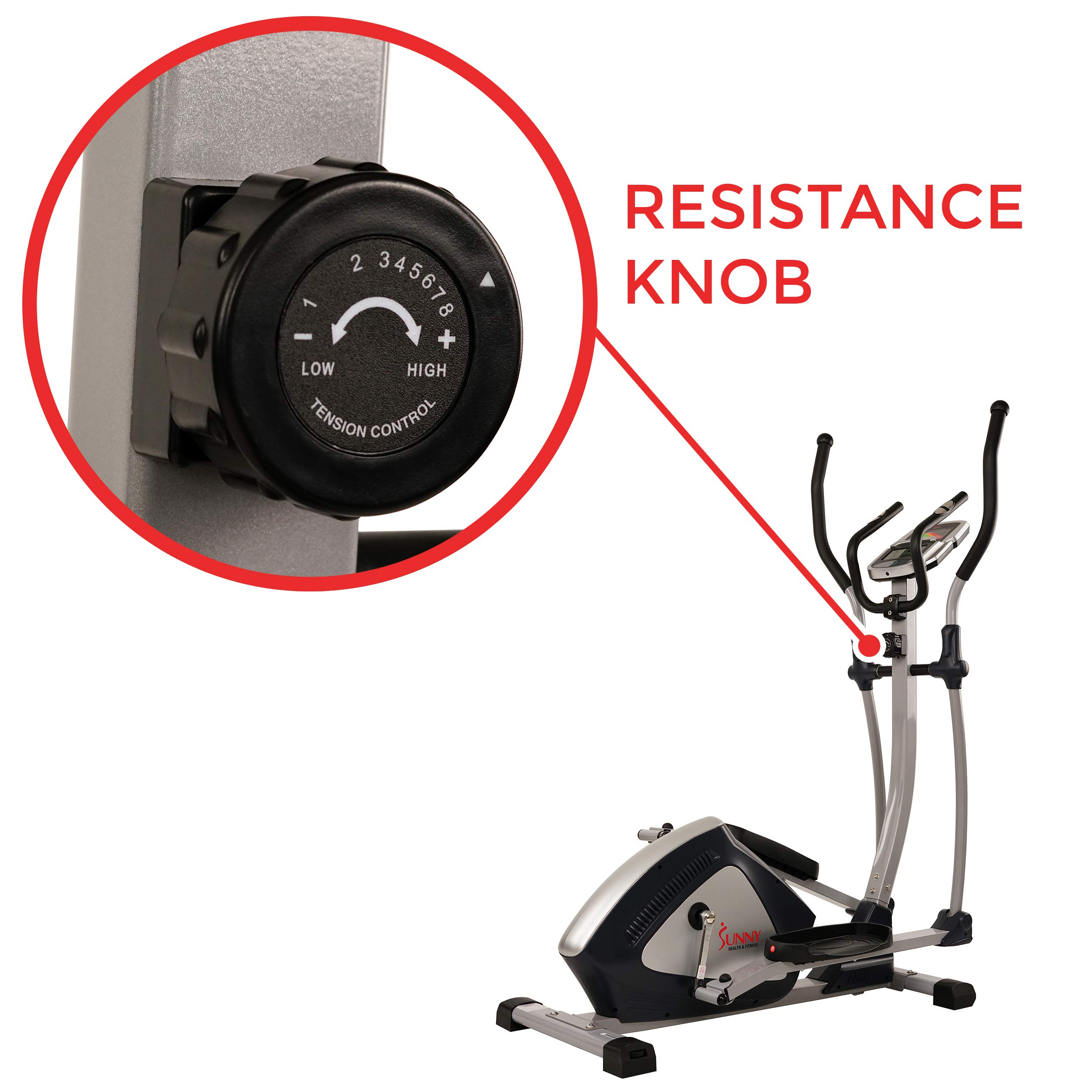 Sunny Health & Fitness Magnetic Elliptical Trainer Elliptical Machine w/  LCD Monitor and Heart Rate Monitoring - Endurance Zone - SF-E3804 by Sunny Health & Fitness (Image #6)