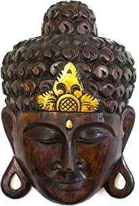 "G6 COLLECTION 12"" Wooden Wall Mask Serene Buddha Head Black Statue Hand Carved Sculpture Handmade Figurine Gift Decorative Home Decor Accent Rustic Handcrafted Art Wall Hanging Decoration Buddha Face Mask Black"