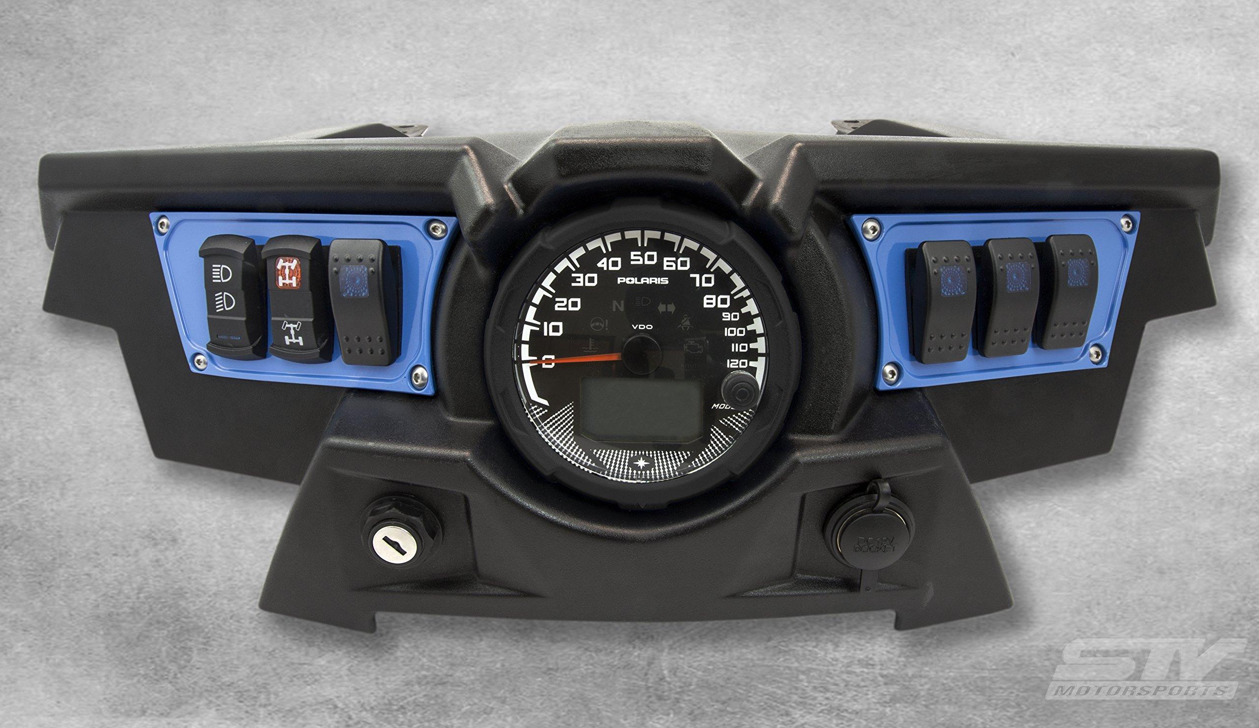 STV Motorsports Custom Aluminum Blue Dash Panel for Polaris RZR XP 1000 with 4 Free Rocker Switches
