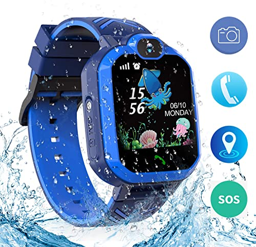 Jsbaby Kids Waterproof Smart Watch Phone,Smartwatch for Children s with Tracker Touch Screen SOS Camera Alarm Clock Games for 3-14 Years Old Boys Girls Students Birthday Gifts