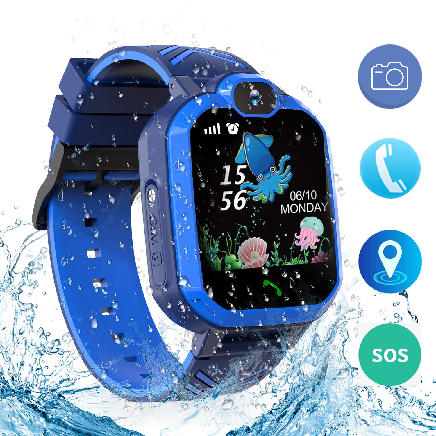 bohongde Kids Waterproof Smart Watch Phone,Smartwatch for Childrens with Tracker Touch Screen SOS Camera Alarm Clock Games for 3-14 Years Old Boys ...