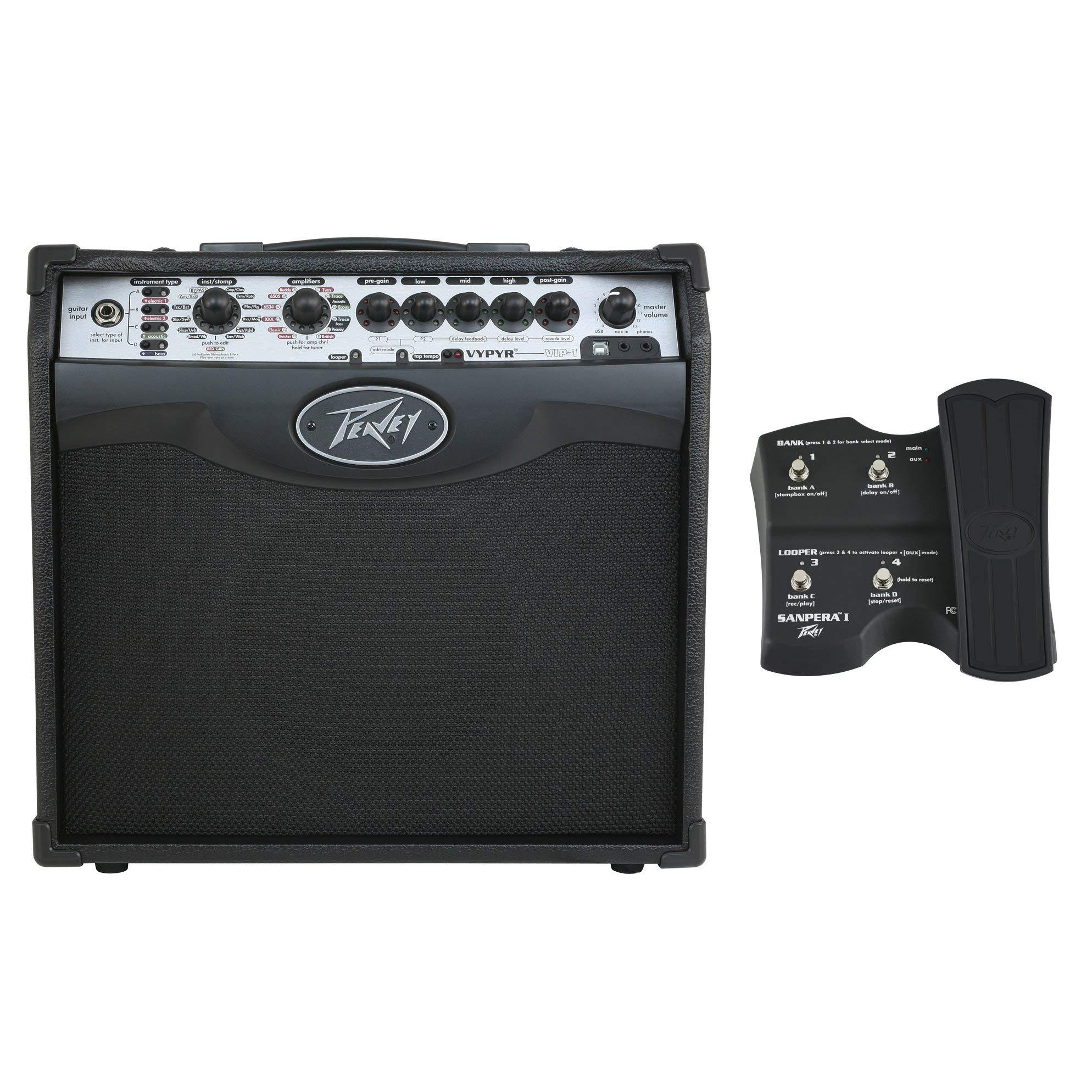 Peavey Vypyr VIP 1 20 Watt Combo Modeling Amplifier Amp + Sanpera I Pedal Controller