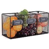 INDIAN DECOR. 28109 Black Metal Wire 3 Bin Kitchen Pantry Organizer Basket, Free Standing Mail Sorter. Black