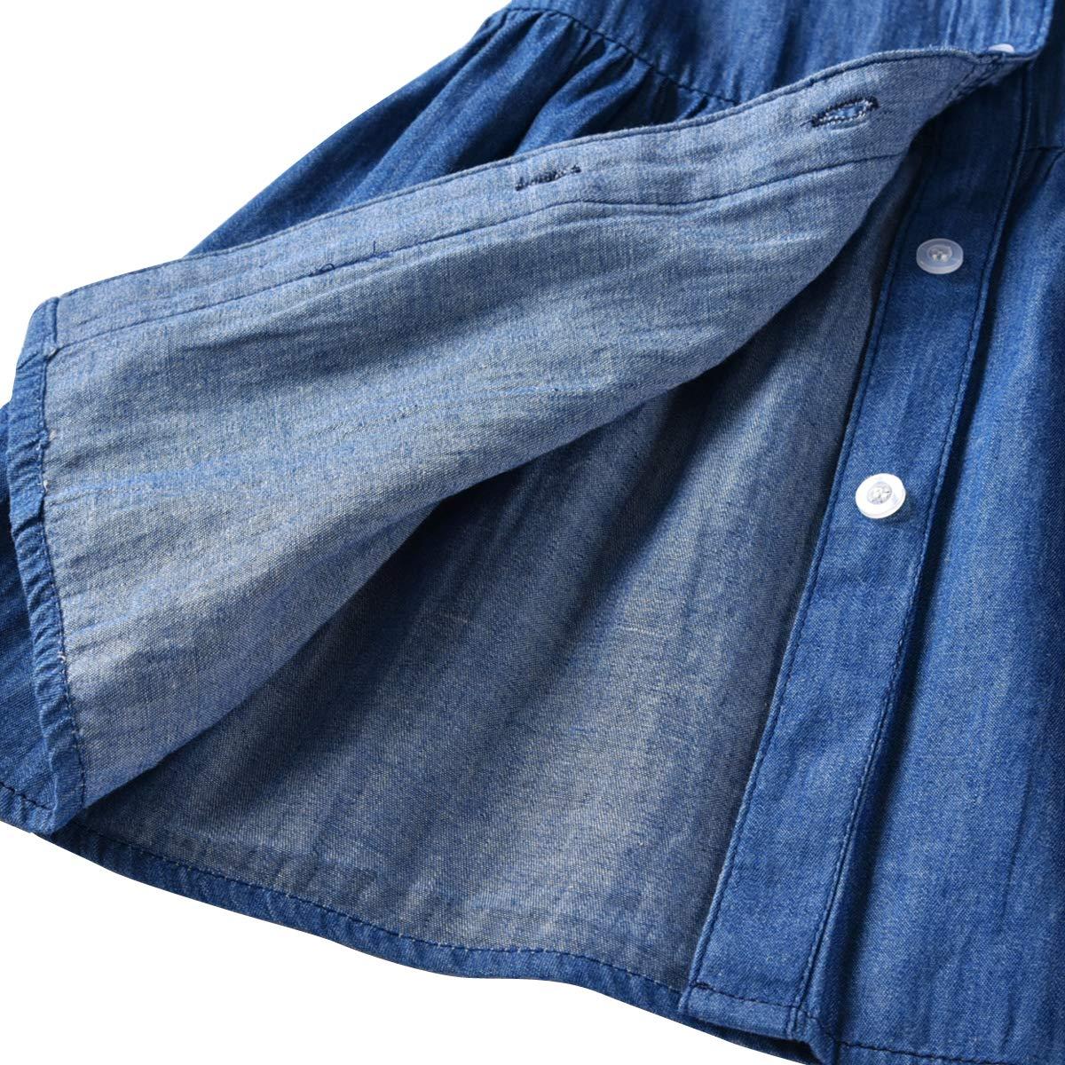 LAPLBEKE Kinderbekleidung Jeanshemd Fr/ühling Langarm Revers Jeansbluse Kleinkind Baby Kleidung Kind M/ädchen Denim Gerafft Lange /Ärmel T-Shirt Oberteile Bluse