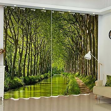 Verdunkelungsvorhang Ösen Gardinen Wohnzimmer Gardinen Und Vorhänge  Darkening Blackout Vorhänge 3D Effekt Dschungel Print Polyester Für