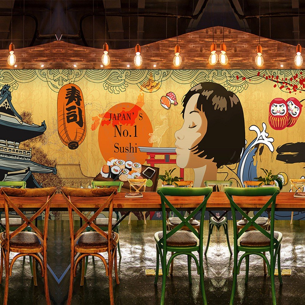 Colomac Wall Mural Japanese Retro Architecture Cartoon Characters Mural Suitable for Japanese Restaurant Cafe Wallpaper 196.8 Inch x 78.8 Inch by colomac (Image #2)