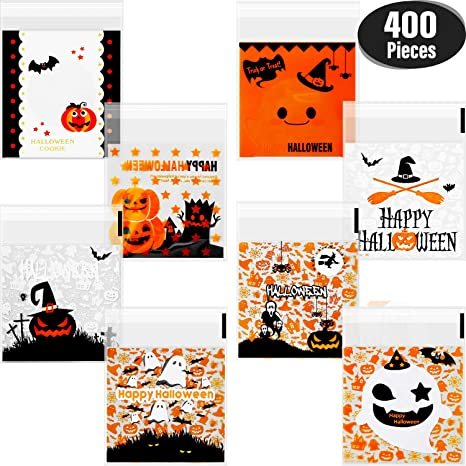400 Pieces Self Adhesive Candy Bag Halloween Clear Cookie Bags Cellophane Treat Bags for Homemade Craft, Halloween Party Favors