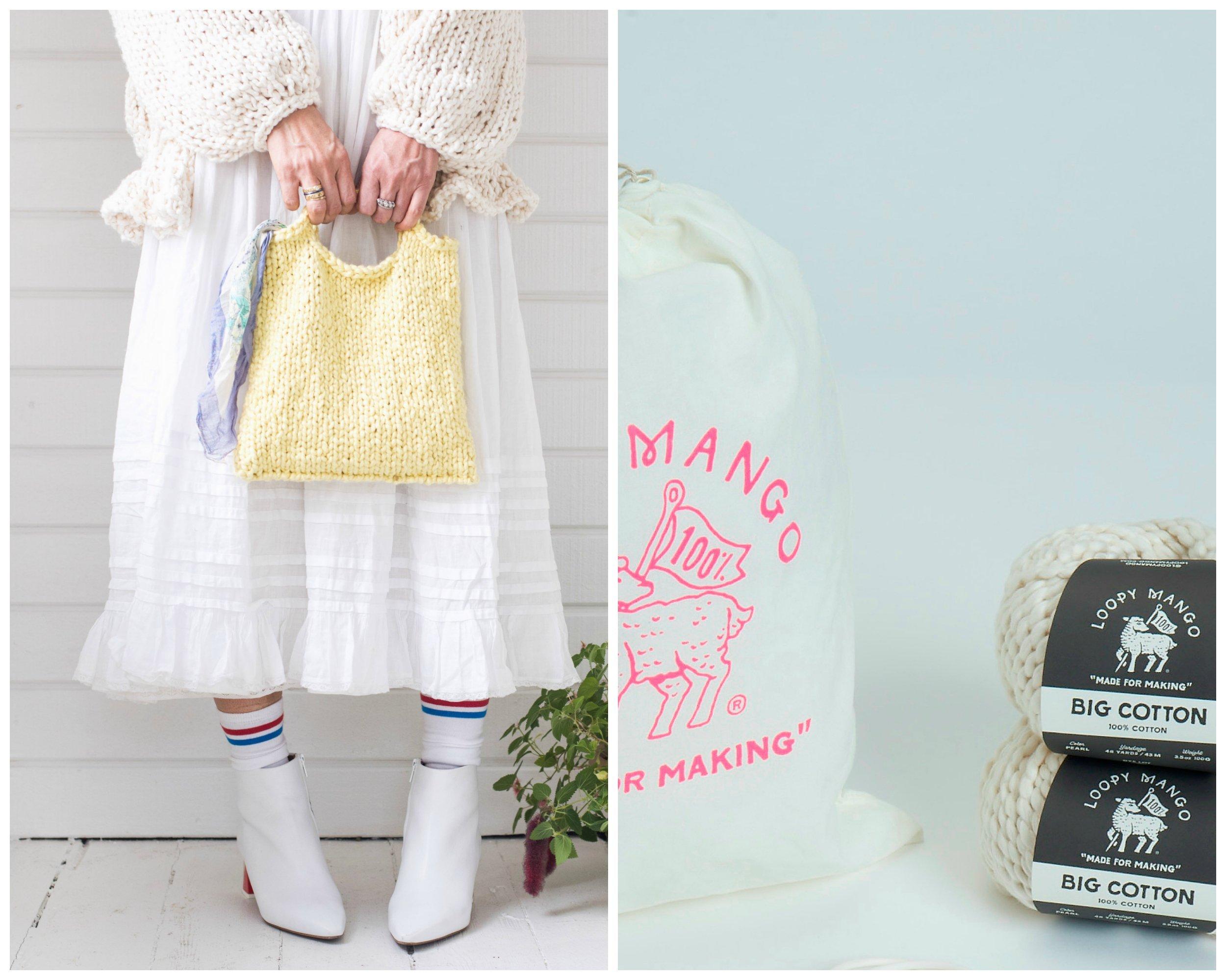 Loopy Mango DIY Knit Kit - Cotton Mini Market Bag (APRICOT)