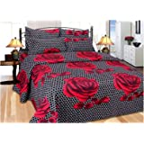 RS Home Furnishing Combo Cotton Floral Pattern King Size Singel Bedsheet with 2 Pillow Covers Multi Colour