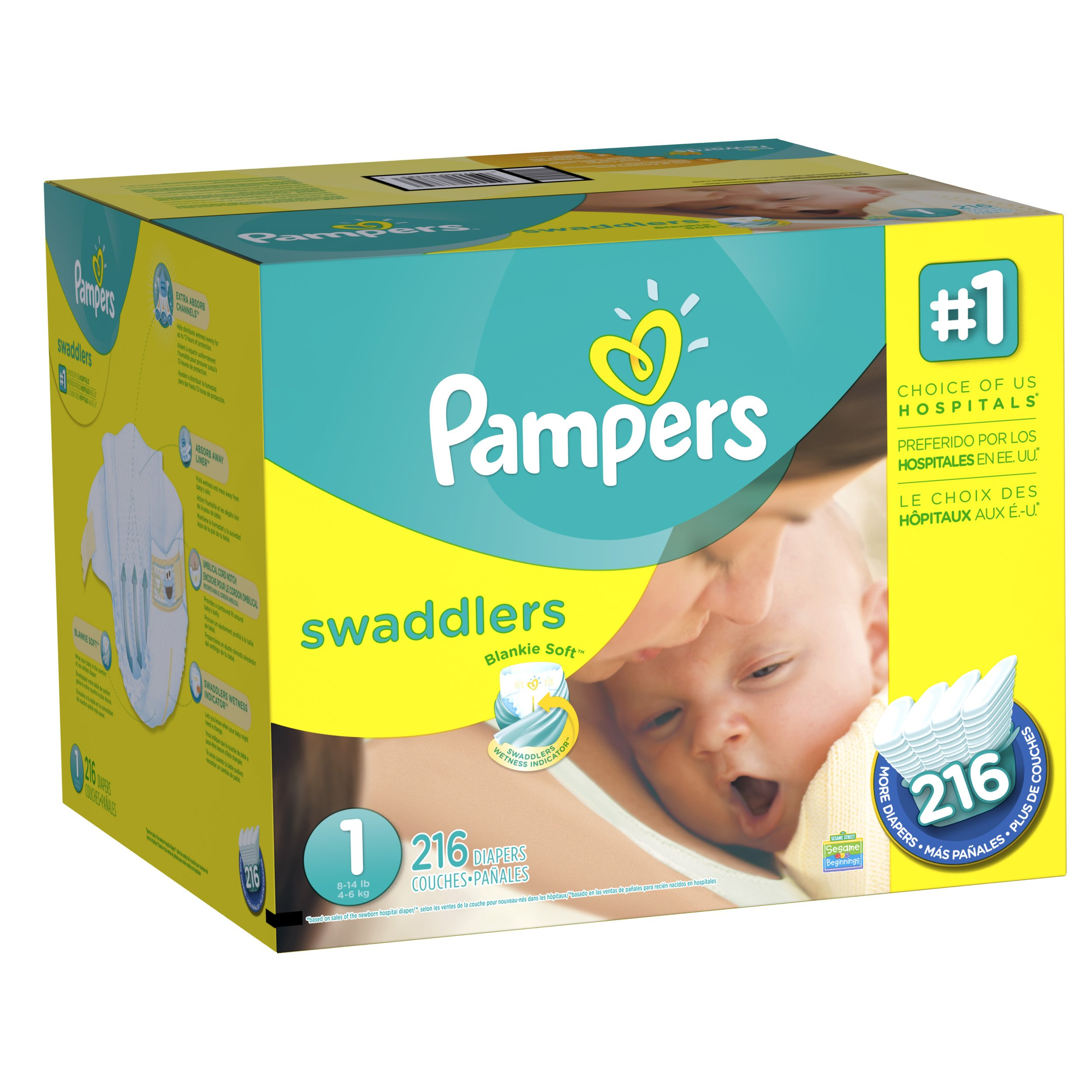 Diapers Newborn / Size 1 (8-14 lb), 216 Count - Pampers Swaddlers Sensitive Disposable Baby Diapers, (old version) (Packaging May Vary) by Pampers