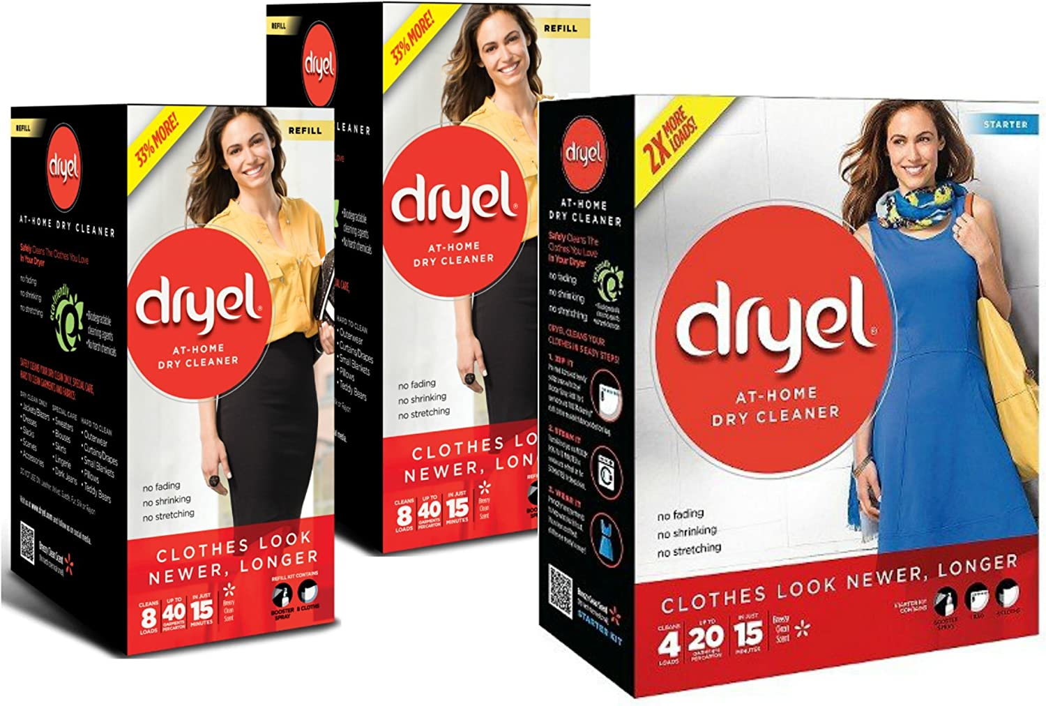Dryel at-Home Dry Cleaner Bundle: (1) Starter Kit, 4 Loads and (2) Refill Kits, 8 Count