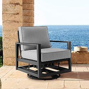 ARMEN LIVING LCODCMCHBL Cayman Black Aluminum Outdoor Swivel Glider Chair Grey Cushions, Dark Gray