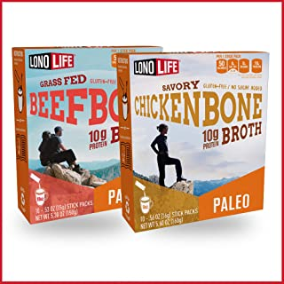product image for LonoLife Beef and Chicken Bone Broth Combo Pack - 10 Stick Packs of Each