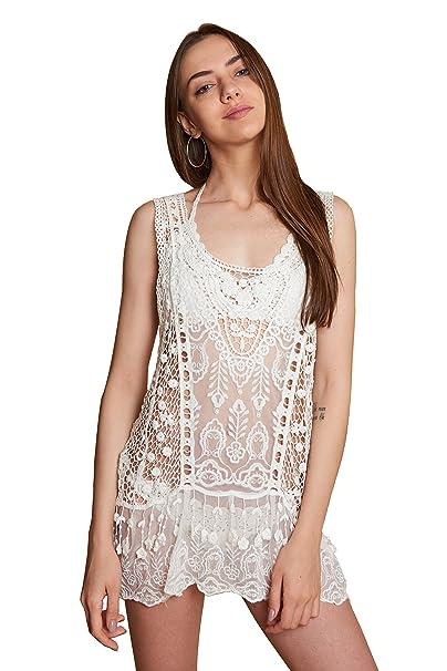 Camiseta de Crochet con Flecos para Mujer