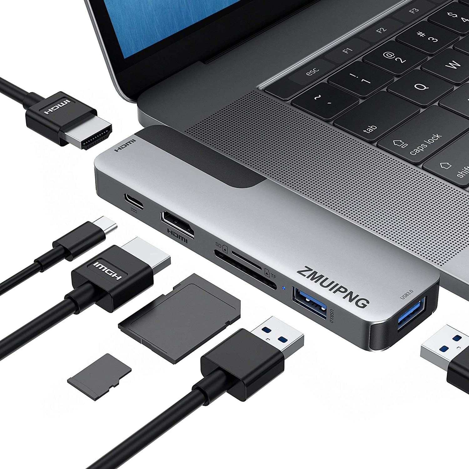SD//Micro SD Card Reader MacBook Pro USB Adapter HDMI MacBook Pro Air Multiport Adapter with 2 HDMI 4K@60hz 100W Power Delivery 2 USB 3.0 Port USB C Adapters for MacBook Pro 2020