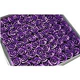 TININNA 81 pcs Jabón de Baño de Rosa Flor de Romántico Perfumada Baño Cuerpo del favor Regalos Jabón Rose Petal decoración de la boda-Púrpura