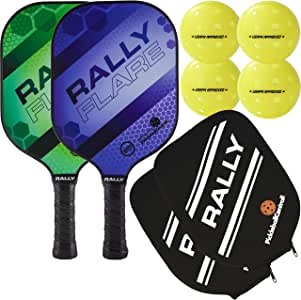 Rally Flare Graphite Pickleball Paddle | 2 Player Pack with Pickleballs and Paddle Covers | Polymer Honeycomb Core, Graphite Hybrid Composite Face | Lightweight