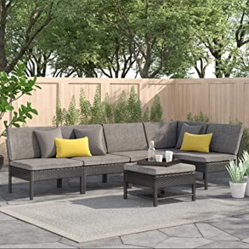 Awesome Baner Garden 6 Pieces Outdoor Furniture Complete Patio Wicker Rattan Garden Corner Sofa Couch Set Full Black Pabps2019 Chair Design Images Pabps2019Com