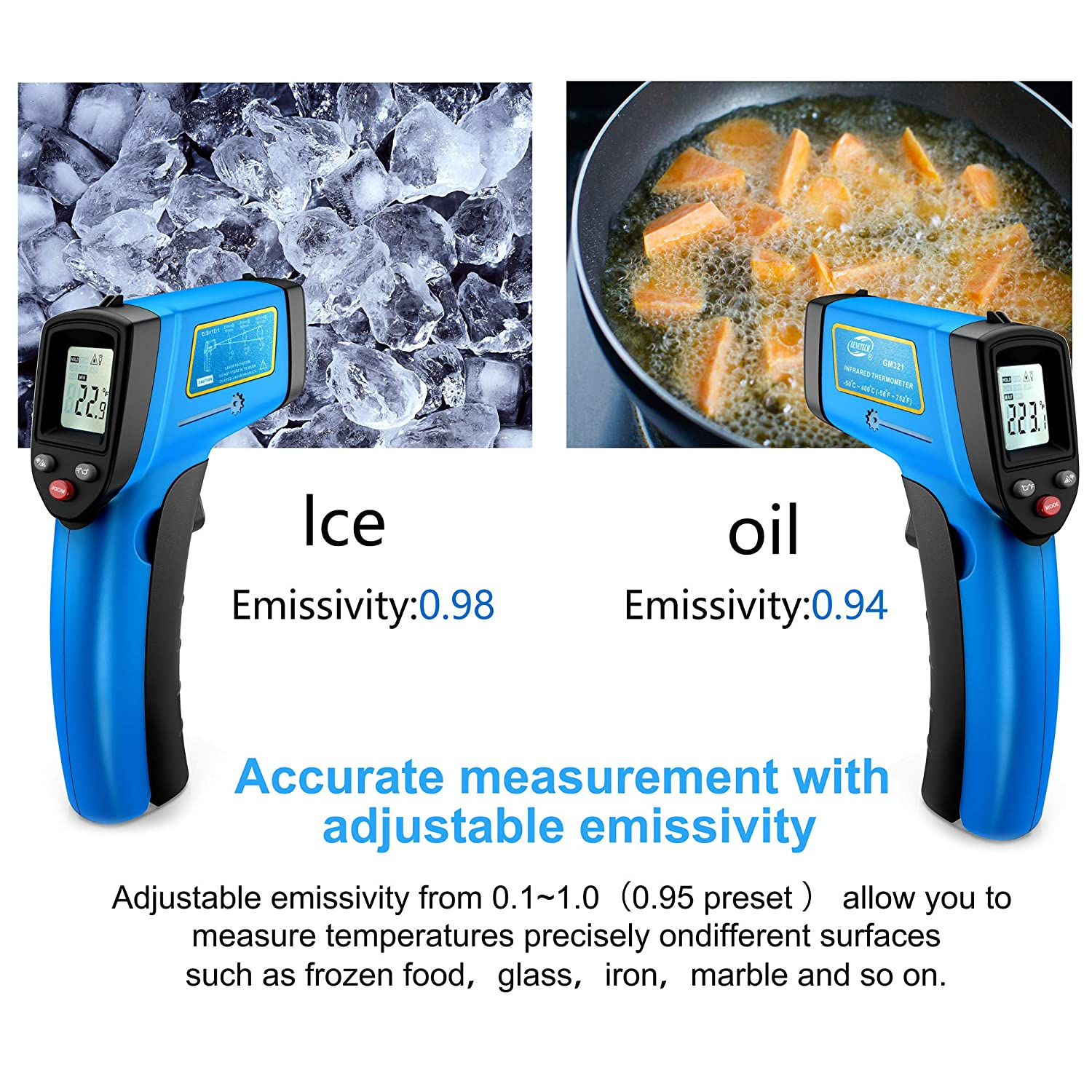 -50/°C~400/°C 58/°F~752/°F RISWOJOR Laser Infrared Thermometer Non-Contact Digital Temperature Gun,Adjustable Emissivity /&MAX//MIN//AT//CAL; IR Thermometer for Industrial,Kitchen Cooking,Ovens