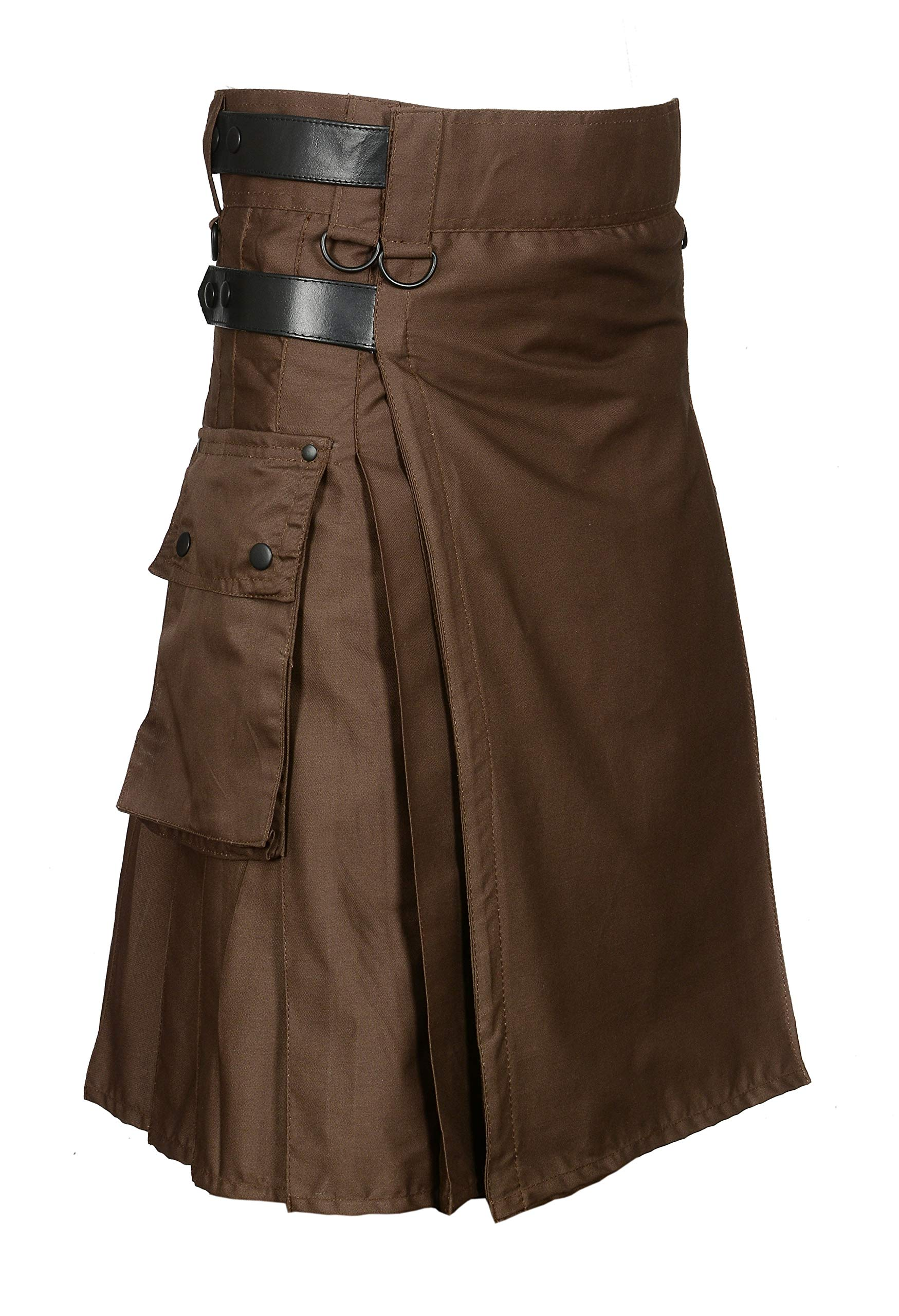 Chocolate Brown Leather Strap Utility Kilt For Active Man Kilt Wedding Kilts (38)