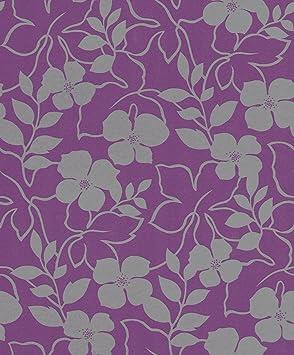 rasch plaisir papel pintado para pared diseo de flores color morado y gris