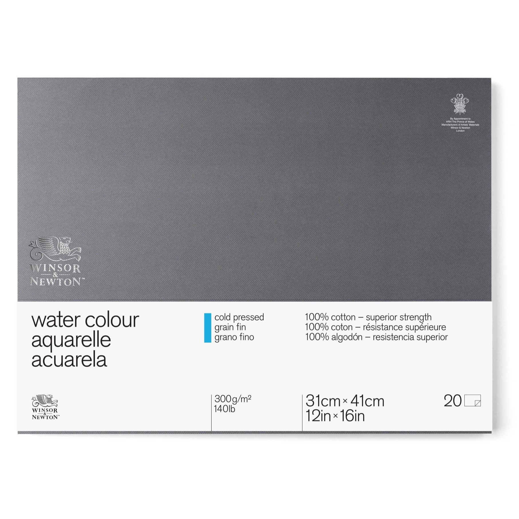 Winsor & Newton Professional Watercolor Paper Block, Cold Pressed 140lb, 12''x16'' by Winsor & Newton