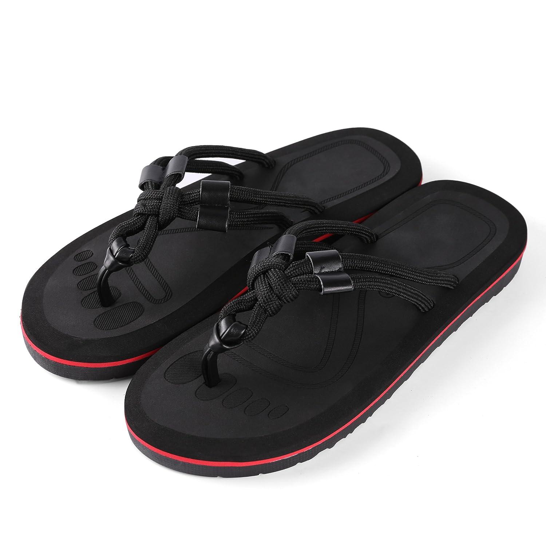 Aerusi SOK009043 Mesa Knot Comfortable Wear Sandal Flip Flops,Black,Us Men's Size 9-10