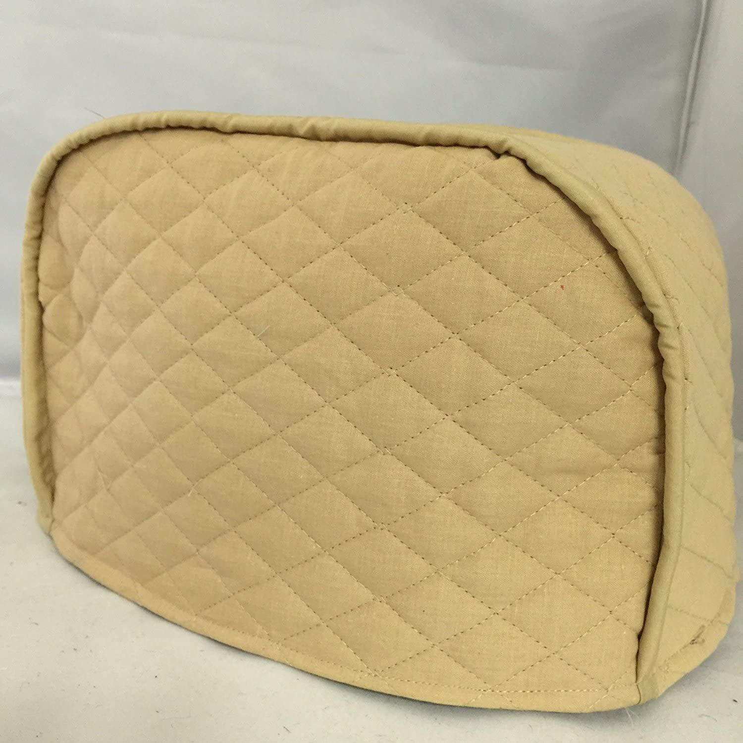 """4 Slice Toaster Cover - Long Slot (15.75""""x8""""x8"""") / Quilted Double Faced Cotton, Beige"""