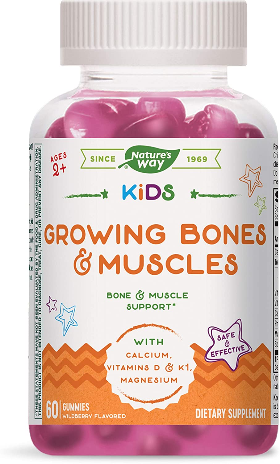 Nature's Way Kids Growing Bones & Muscles, Bone and Muscle Support*, Calcium and Vitamin D, Ages 4+, Wildberry Flavored, 60 Vegetarian Gummies