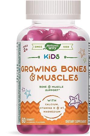 Nature's Way Kids Growing Bones & Muscles, Calcium & Vitamin D, Ages 2+ Wildberry Flavor, 60 Gummies