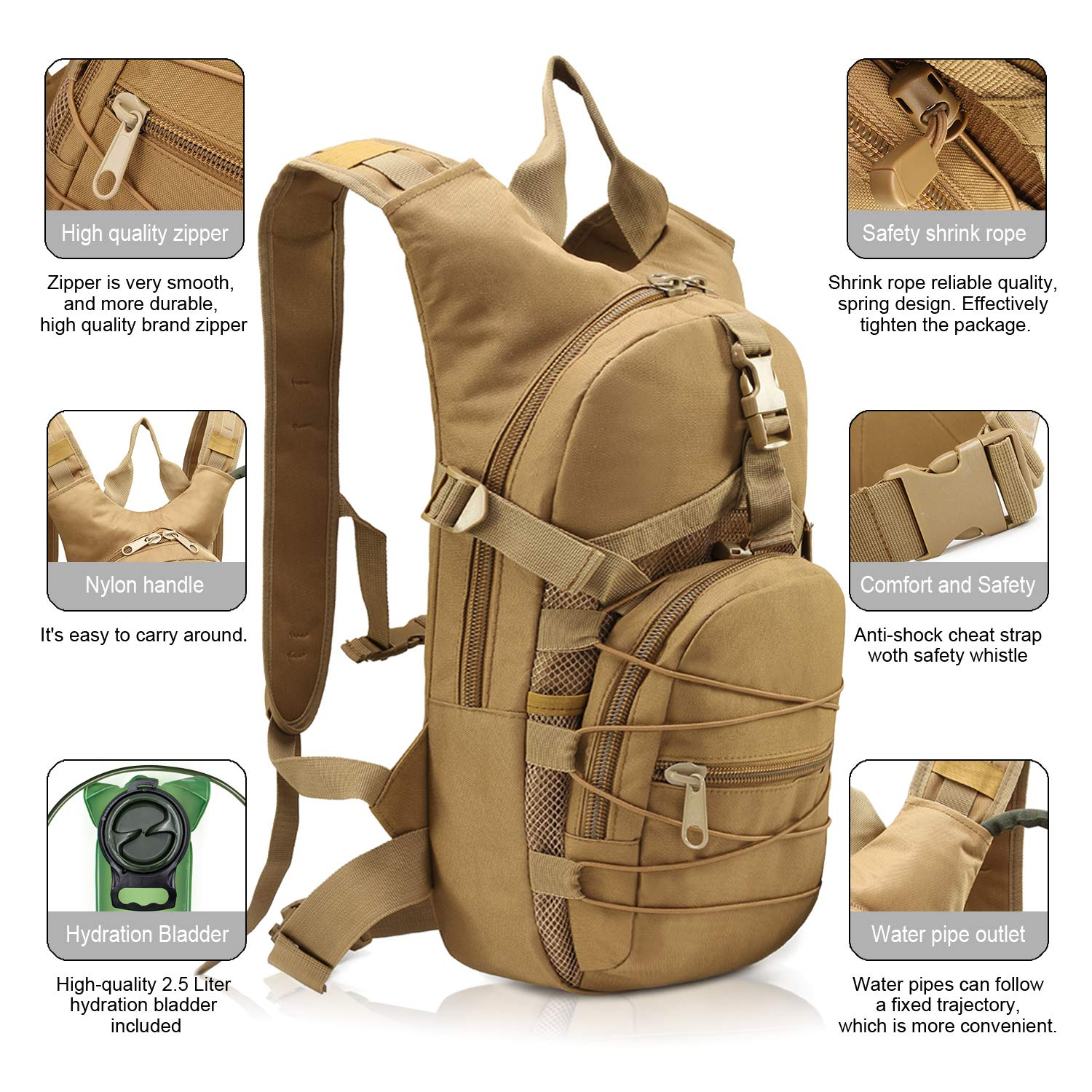 YONLE Tactical Hydration Pack Backpack Water Backpack with 2.5L Bladder for Hiking Biking Running Walking and Climbing